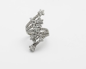 White Diamonds Coiled Floral - 14k Gold High Ring