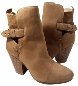 Rag & Bone Crossed Straps Ankle Burnished Suede Made In Italy Camel Nubuck Boots
