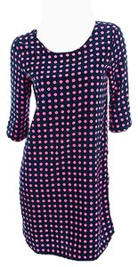 Gap Shift Navy And Pink Polka Dot Half-sleeve Dress
