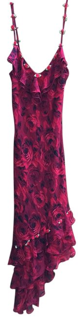 Item - Red Rose Print Silk Long Cocktail Dress Size 4 (S)