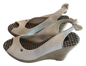Tommy Hilfiger Face Sandals Summer Peep Toe White Wedges