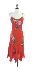 Sue Wong Orange Floral Embroidered Dress