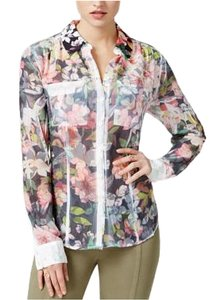 Guess Button Down Shirt FLORAL- BLACK