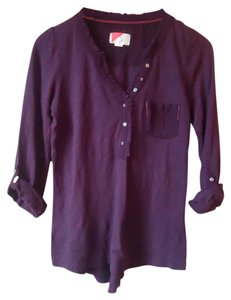 Anthropologie Purple Cotton Roll Sleeve Button Down Shirt