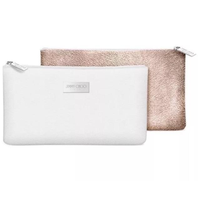 Item - White and Gold Parfums & Faux Leather Makeup Pouch Case Sac Cosmetic Bag