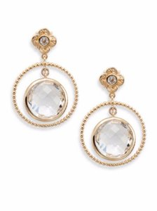 Stephen Dweck Clear Quartz and Bronze Hoop Drop Earrings