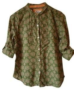 Anthropologie Green Roll Sleeve Cotton Button Down Shirt