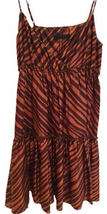 Ella Moss short dress Brown and Orange Silk Tiered Striped on Tradesy