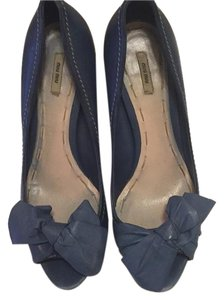 Miu Miu Bow Heels Slate blue Pumps
