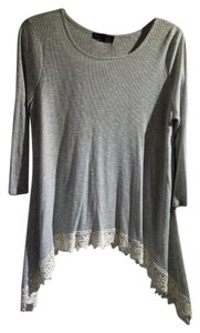 Socialite Lace Trim Top gray and off white