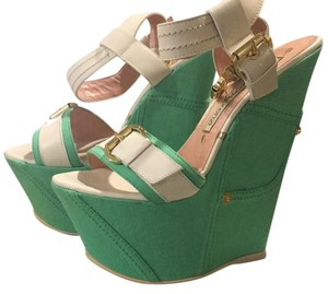 Gianmarco Lorenzi teal denim Wedges