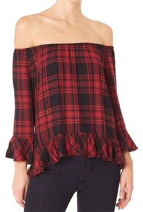 Sanctuary Clothing Top Soft red and black plaid