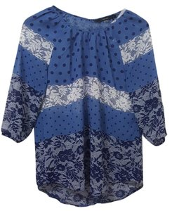 Fun 2 Fun Top blue floral polka-dot