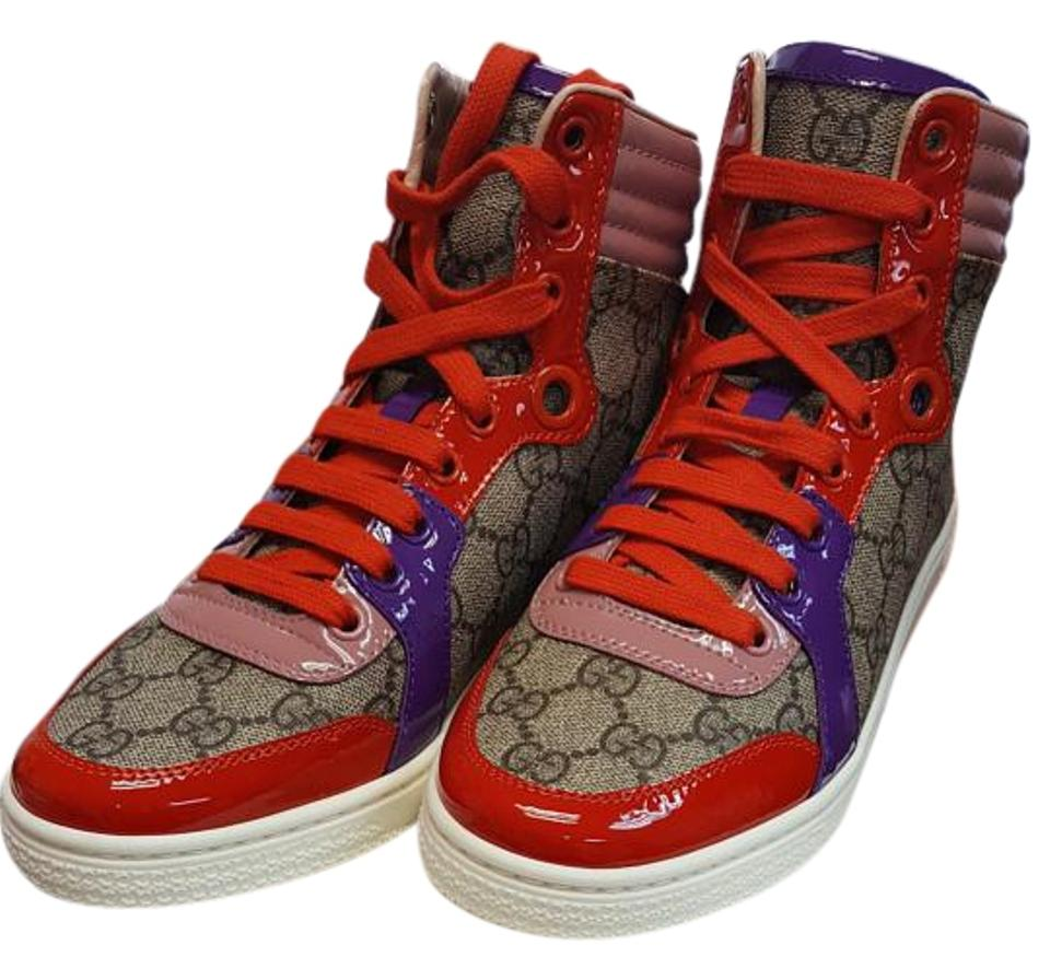 1220ca14895 Gucci Pink Purple Red Gg Supreme High Top Sneaker Sneakers Size US 6 ...
