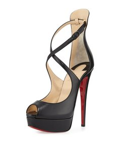 Christian Louboutin Napa Leather Stiletto Heel Black Pumps
