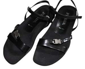 Prada Patent Leather Metallic Hardware Black Sandals