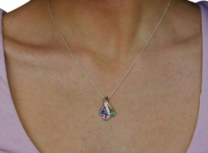 Colored Sapphire Pendant- Blue Green Pink 14k Gold Jewelry