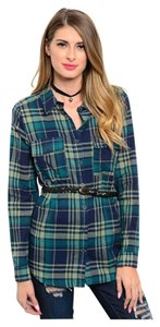 Flannel Checkered Button Down Shirt Blue and Green Plaid