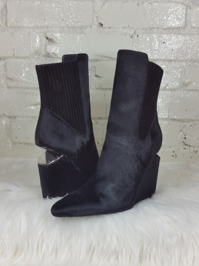 Alexander Wang Silver Hardware Luxury Pointed Toe Black Pony (calf hair) Boots