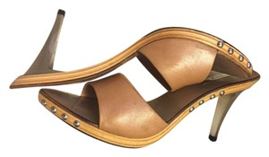 Mario Bologna Pearlized Leather Silver Beige Mules