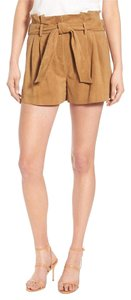 Olivia Palermo x Chelsea28 Suede Leather Belted Dress Shorts tan