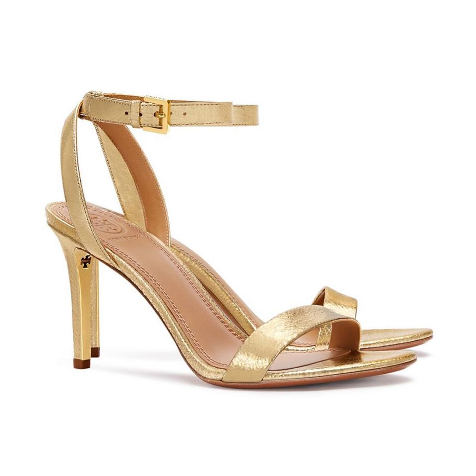 9cac57ca1d4c80 Tory Burch Gold Elana Open Toe High Heels Sandals Size US 7.5 ...