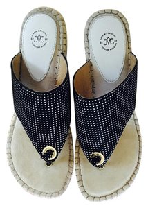 Johnston & Murphy Navy and white dot Sandals
