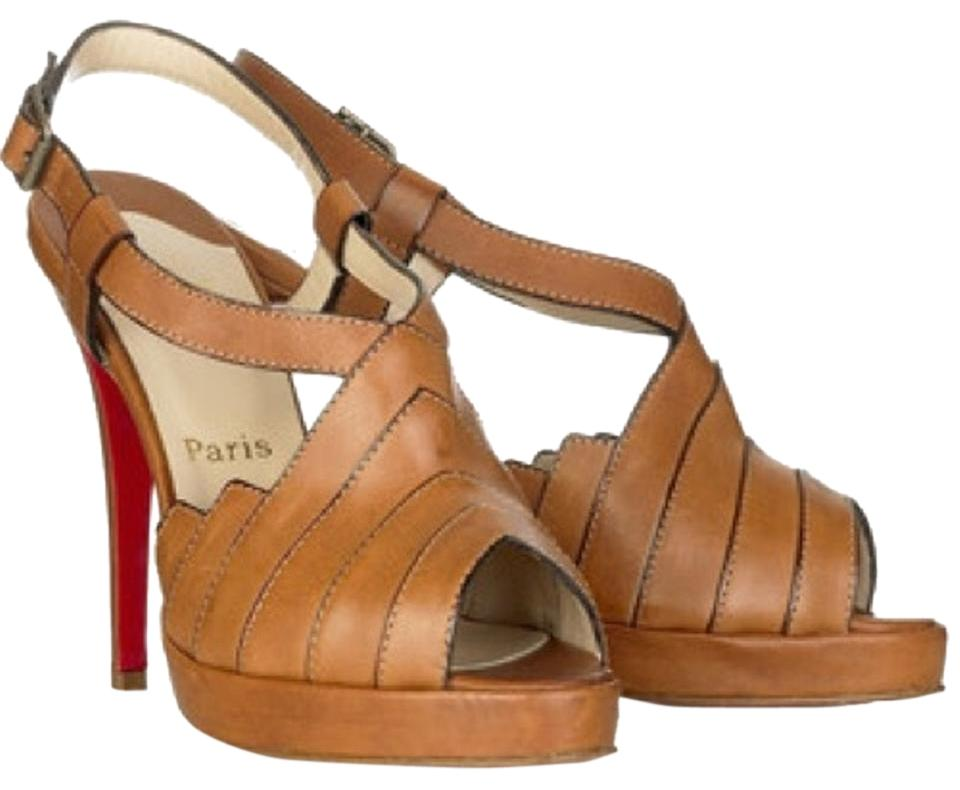 Christian Louboutin City Brown City Louboutin Girl Slingback Platforms abed81