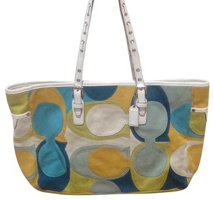 Coach Tote in Green/yellow/blue