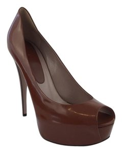 Gucci Leather Peep Toe Brown Platforms