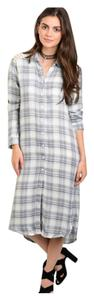Blue/Gray and White Plaid Maxi Dress by Other Flannel Lace Crochet Button Down