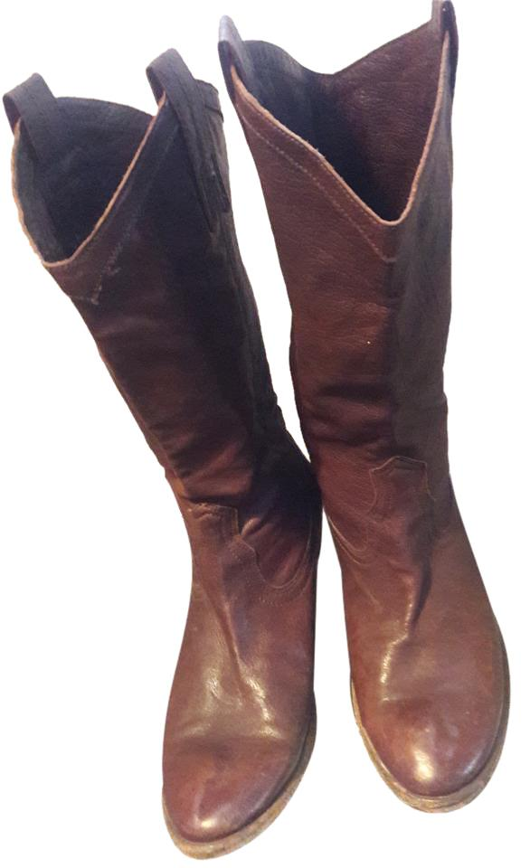 Frye Dark To Brown Western Leather To Dark The Calf Boots/Booties db04e8