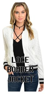 Other Crochet Long Sleeve Coat White w/Black Trim Lace Jacket