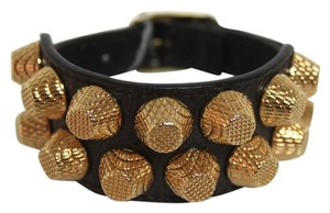Balenciaga New Balenciaga Dk Brown 2 Row Giant Stud Arena Leather Bracelet