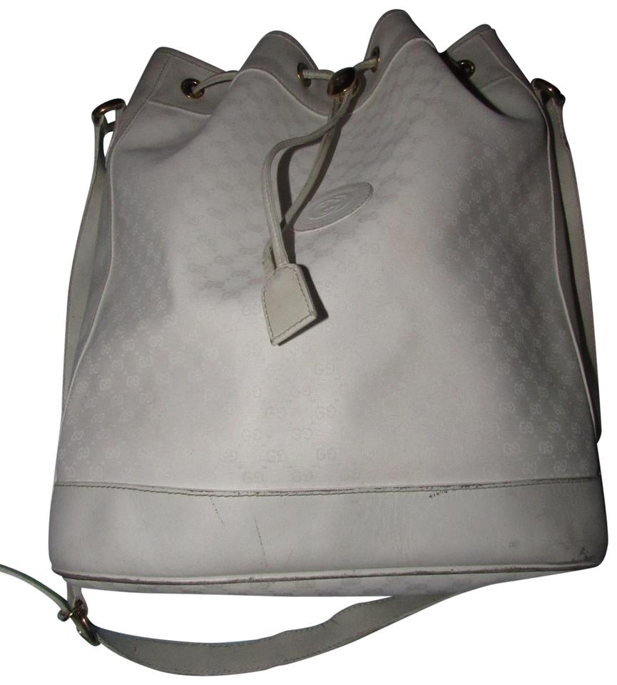 Gucci Excellent Vintage Great For Everyday Practical Stylish Drawstring Bucket Chic Retro Style Satchel In White