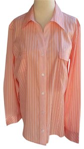 Chico's Fitted Shirt Striped Long Sleeves Button Down Shirt Peach, striped