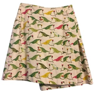 Anthropologie Skirt Cream, green, chartreuse, pink, magenta