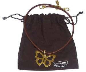 Coach Coach Butterfly Brass/Leather Necklace Pendant Rare