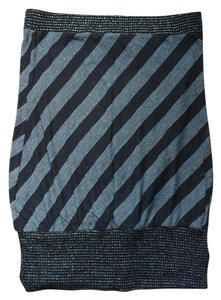 Charlotte Russe Sparkles Strapless Top Black and Gray stripe