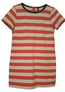 J.Crew short dress Pink/White/Navy Striped Zipper on Tradesy