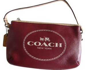 Coach Coach Horse Carriage Crimson Leather Medium Wristlet/Clutch