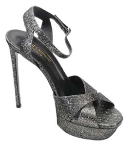 Saint Laurent Ysl Sandal Bianca Silver Pumps