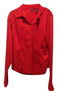 New York & Company Brand Red Button With Collar Fitted Button Down Shirt Tomato red