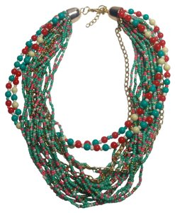 New Multi Strand Beaded Bib Necklace Red Green White J2872