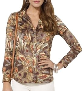 Lauren Ralph Lauren Cotton Longsleeve Button Down Shirt brown, green, rust