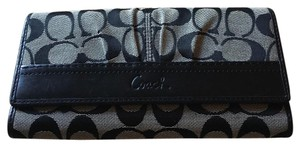 Coach COACH SOHO PLEATED SIGNATURE WALLET SILVER/BLACK