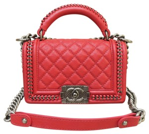 Chanel Small Le Boy Satchel in red