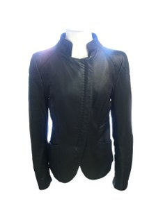 Emporio Armani Leather Double Zipper Saddle Stitch Black Jacket