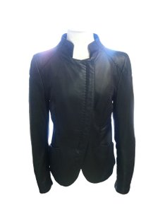 Emporio Armani Leather Double Zipper Saddle Stitch Fitted Black Jacket