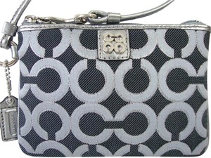 Coach Coach Julia SP OP Art Black Gunmetal Wristlet Clutch